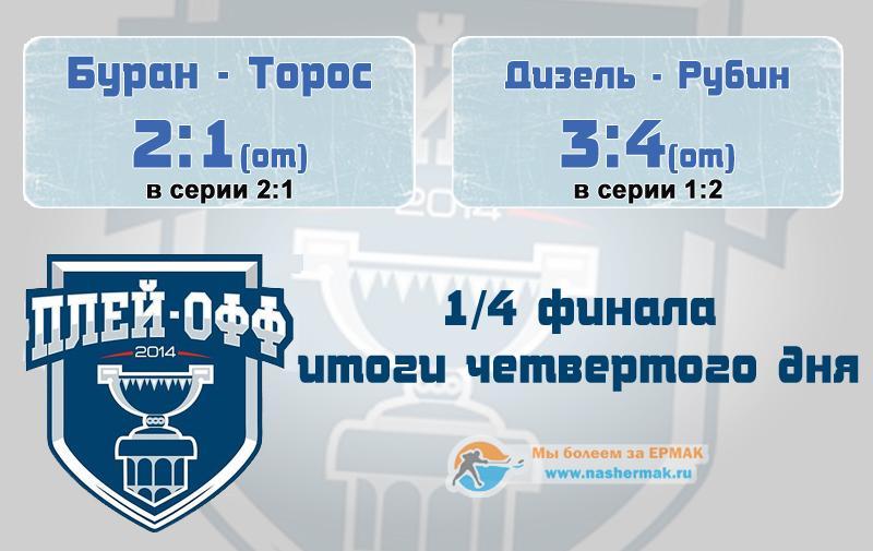 Итоги четвертого дня 1/4 плей-офф ВХЛ.